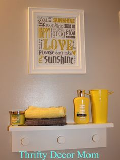 My new cheerful gender neutral bathroom Yellow Black Grey and