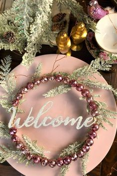 Glittery Christmas Wreath from an Embroidery Hoop - What Meegan Makes Christmas Bells, Kids Christmas, Christmas Wreaths, Christmas Crafts, Christmas Ornaments, Modern Christmas, Christmas Decorations, Metal Welcome Sign, Book Page Flowers