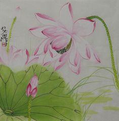 Chinese Lotus Painting,34cm x 34cm,2388027-x