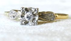 Art Deco Diamond Engagement Ring 14K White & by LoveAlwaysGalicia, $298.00 Vintage item from the 1920s