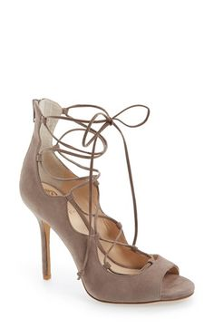 Free shipping and returns on Vince Camuto 'Sandria' Lace Up Peep Toe Sandal (Women) at Nordstrom.com. Ghillie-style sandals go chic in buttery-soft suede, while an open toe and sweeping laces provide the perfect details for showing off that pedicure.