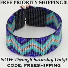 The Blues Zig Zag Tribal Style Bead Loom Bracelet Artisanal Jewelry Native Motif Western Beaded Gypsy Boho Bohemian Native American Loom Patterns, Beading Patterns, Style Tribal, Chevron, Bead Loom Bracelets, Tribal Fashion, Blue Beads, Cow Girl, Loom Beading