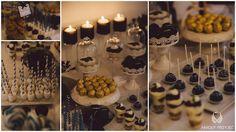 14. Navy Gold Wedding | Sweet table | Sweet table decor | Sweetness | Cupcakes | Dessert shooters | Chocolates | Macaroons | Cake-pops / Granatowo - złote wesele | Słodki stół | Dekoracja słodkiego stołu | Słodkości | Muffiny | Deserki | Czekoladki | Makaroniki | Anioły Przyjęć