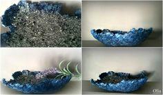 Crystal filled papier mache bowl