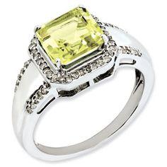 Princess Cut Lemon Quartz Diamond Sterling Silver Ring Available Exclusively at Gemologica.com