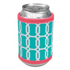 Can Koozie - Neoprene - Geometric Turquoise Design - Occasionally Made