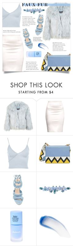 """Blue Faux Fur"" by ifip ❤ liked on Polyvore featuring Miss Selfridge, Topshop, Prada, Sretsis and Lipstick Queen"
