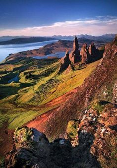 Isle of Skye the view to the Old Man of Storr and beyond.