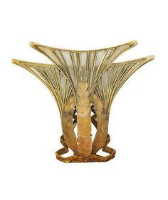 RENÉ LALIQUE   ART NOUVEAU PLIQUE-A-JOUR PRESSED GLASS GOLD JEWEL. In the form of stylized wheat ears and ribbons, translucent pâte de verre seeds over shaded enamel, opalescent plique-à-jour beards, translucent copper-tone enamel ribbon spirals, ca. 1903-1905.
