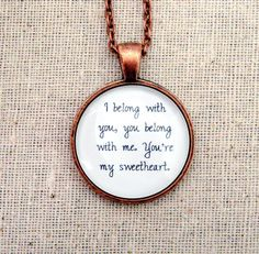 The Lumineers - Ho Hey Inspired Lyrical Quote Necklace. $15.95, via Etsy.  I HAVE to have this...me & Tommy's song :)