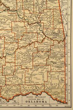 Vintage Map Oklahoma State 1930s Original 1935