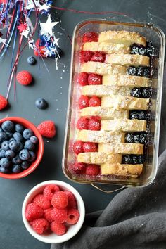 Berries Cream Cheese French Toast warm out of the oven, crispy edges, warm and creamy on the inside, topped with sweet juicy berries
