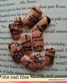 Yes, that's a Marauder's Map done up as a nail art set. Follow that manicure! (The Nail Files on etsy)