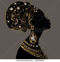 Illustration Featuring the Silhouette of a Woman Wearing Various Accessories - buy this vector on Shutterstock & find other images. Owl Quilt Pattern, Wildflower Drawing, Afrique Art, African Art Paintings, Gold Leaf Art, Pottery Painting Designs, Rhinestone Art, Dot Art Painting, Woman Silhouette