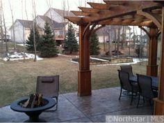 Backyard patio idea. I like the large sections of concrete