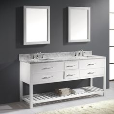 "Rishaan 73"" Double Bathroom Vanity Set with White Marble Top and Mirror"