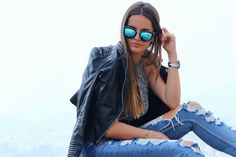 My Girl Quay sunglasses boyfriend jeans outfit with leather jacket. Blogger: Fashaddicti