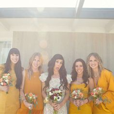Indie Palm Springs Wedding with Goldenrod Bridesmaid dresses