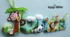 Jungle Name Banner Dschungel Namenskette Felt Name Banner, Name Banners, Christmas Ornaments, Holiday Decor, Handmade Gifts, Tela, Jungles, Presents, Kid Craft Gifts