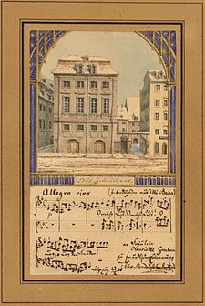Watercolor of Gewandhaus, by Felix Mendelssohn