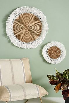 Fringed Basket Wall Art by Anthropologie in White, Decor , Baskets On Wall, Hanging Baskets, Decorative Wall Baskets, Diy Wall Hanging, Wall Hanging Designs, Decorative Accents, Hanging Plants, Boho Diy, Bohemian Decor