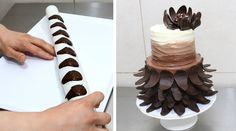 Fast and easy to make chocolate cake decorating tips. Easy chocolate decorating techniques and ideas. Chocolate Work, Chocolate Bowls, Chocolate Wrapping, Chocolate Flowers, Modeling Chocolate, How To Make Chocolate, Homemade Chocolate, Cake Decorating Designs, Cake Decorating Techniques