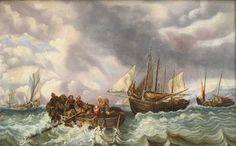 """Tableau Ecole scandinave . XIX em s. """" Famille de pêcheurs dans une barque devant d`autres voiliers et des Icebergs"""""""