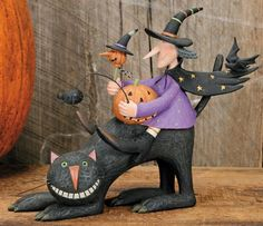 Witch Riding on Back of Cat and Holding Pumpkin Figurine – Halloween Folk Art & Collectibles – Williraye Studio $40.00