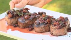 Gourmet up you next Steak Braai with this Fillet Steak with Cherry, Port & Thyme Sauce Recipe from Jamie Purviance, author of Weber's Way to Grill. This recipe is all about the sauce which will really spruce up you steaks, gourmet style. More: Braai. Beef Fillet Recipes, Braai Recipes, Barbecue Recipes, Barbecue Sauce, Barbeque Side Dishes, Barbeque Sides, Bbq, Strip Steak, South African Recipes