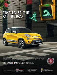 "Fiat 500L Trekking Italian advertising - ""Ciao Fiat Mobile"" app, AR+ module based on AR-Code. Campaign distributed on magazines, newspapers, outdoor billboards and posters."