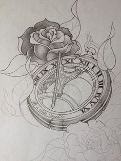 Tattoo design for a half sleeve leading into a standalone sundial pocketwatch