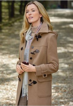 Wonderfully practical but very stylish, this chic duffel coat has the benefit of a cosy detachable hood. Fully lined, it has patch pockets and a fly-front fastening with mock-horn toggles and leather loops. Tailored Jacket, Tweed Jacket, Peasant Skirt, Minimal Outfit, Swing Coats, Trendy Outfits, Trendy Clothing, Stylish, How To Wear