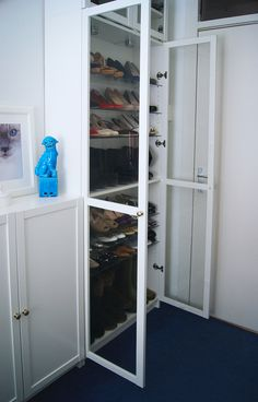 Ikea Billy book case white and glass shoe closet - Ikea hack - Walk in closet - Tatiana's Delights - Foo dog