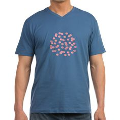 Men's V-Neck T-Shirt With Red Polka Dots