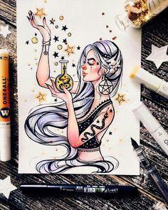Art Sketches – Trend Art ideas on World Marker Kunst, Marker Art, Fantasy Kunst, Fantasy Art, Cute Drawings, Drawing Sketches, Amazing Drawings, Tattoo Sketches, Tattoo Drawings
