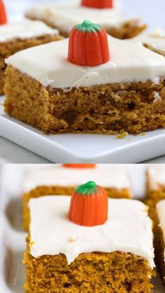 The BEST pumpkin bars with cream cheese frosting - A super soft pumpkin spiced sheet cake topped with a delicious creamy topping. This pumpkin bars recipe will become your new favorite fall staple! Pumpkin Sheet Cake, Pumpkin Spice Cake, Pumpkin Bars, Köstliche Desserts, Delicious Desserts, Dessert Recipes, Yummy Food, Pumpkin Recipes, Cookie Recipes