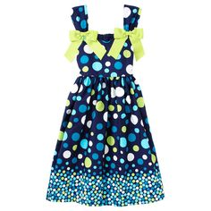 Polka Dot Print Dress with Ribbon Bows  I'd have to see it on but I think the bows are a bit much. Again, maybe on the top of the shoulder straps and that would be for a 6 year old. Older girls...no bows. $12.99 (7 thru 16)