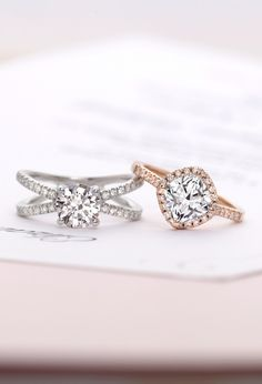 Pavé diamonds perfectly accent these gorgeous diamond engagement engagement rings.