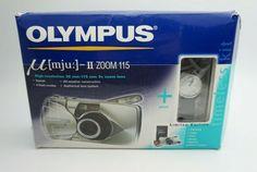 Olympus µ [mju:]- II Zoom 115 Ultra Compact Camera Boxed Watch Working Slr Film Camera, 35mm Camera, 35 Mm Lens, Zoom Lens, Camera Photography, Olympus, Compact, Watch, Shop
