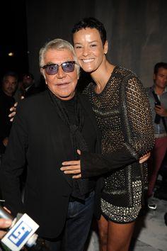 #RobertoCavalli Womenswear SS 2014 Fashion Show - Roberto Cavalli and Nadege in Roberto Cavalli