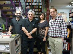 Eva y Félix junto a José Luis Melero y Bernardo Atxaga, este último vino a presentar «Días de Nevada».