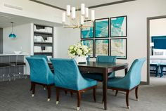""""""" The Chancellor Suite at The Chancellor Hotel. Peacock blue dining room with peacock blue dining chairs and espresso rectangular dining table with Visual Comfort Lighting Thomas O'Brien Ziyi Large Chandelier in Hand-Rubbed Antique Brass. """""""