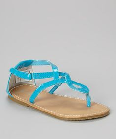 46b9486f0 L Amour Shoes Blue Ankle-Strap Leather Sandal