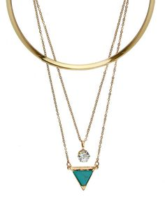 Kit gargantilha e colar duplo dourado pedra triângulo turquesa Agathe