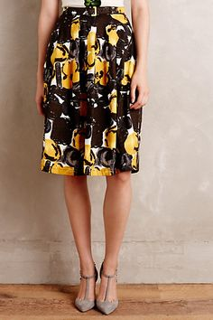 looking for some fall skirts - especially ones with cool patterns that I can wear with boots when the time comes Briar Midi Skirt #anthropologie