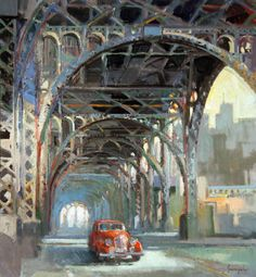 """Francis Livingston ~ """"Riverside Elevated"""" Fantasy Paintings, Landscape Paintings, Landscapes, Urban Life, Urban Art, Industrial Paintings, City Sketch, Classical Realism, Urban Painting"""