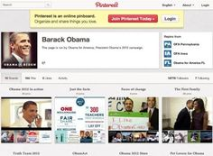 """The Obama campaign: Pinterest account has boards including recipes, """"Pet Lovers for Obama"""" and """"Joe Biden on the Road."""""""