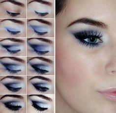 tuto maquillage yeux bleus à effet ombré blanc-bleu-violet                                                                                                                                                                                 Plus
