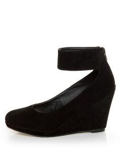 Mixx Agnes Black Suede Anklewrap Wedges - cute VEGAN shoes.