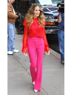 spring 2012 trends-saturated color.  red + fuchsia seen on the fabulous fashion-forward Sarah Jessica Parker.